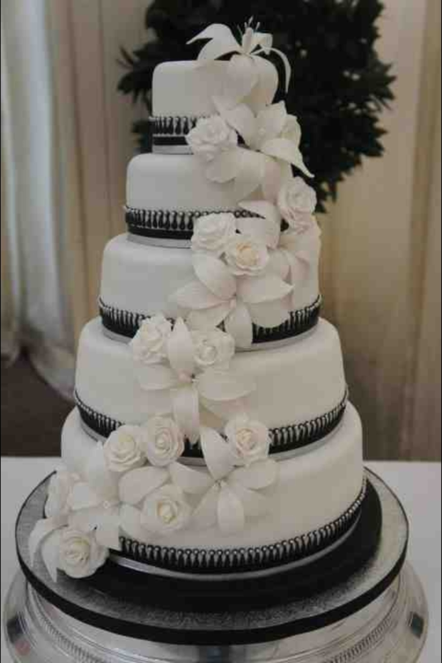 Rose & Lily Cascade 5 Tier Wedding Cake on Cake Central