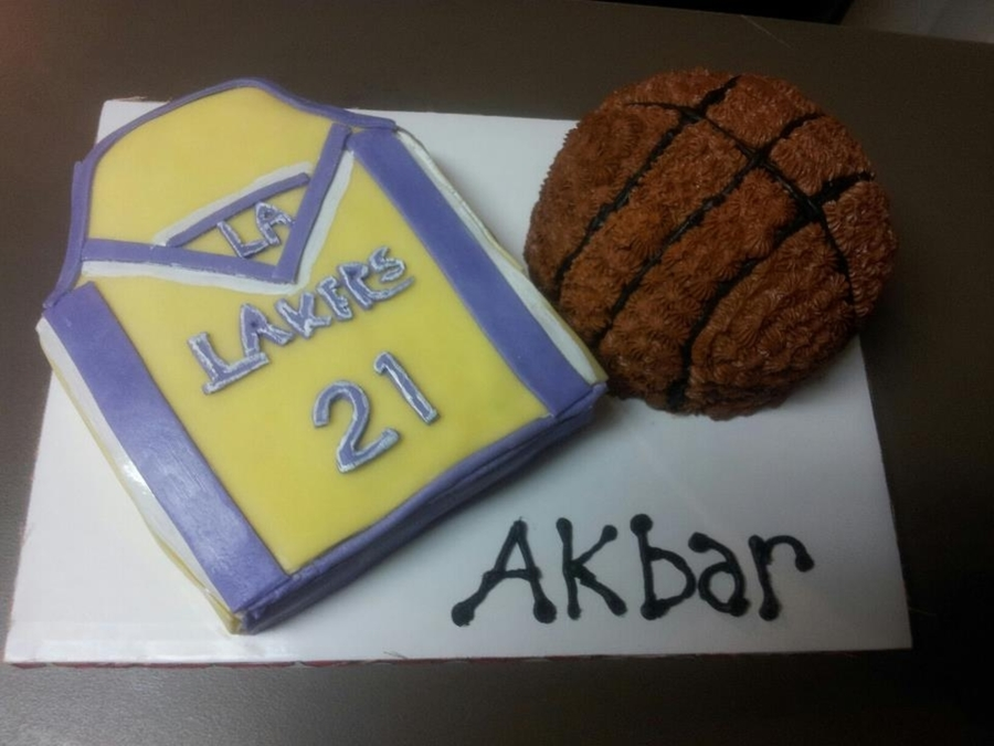 Lakers Jersey & Basketball Cake  on Cake Central