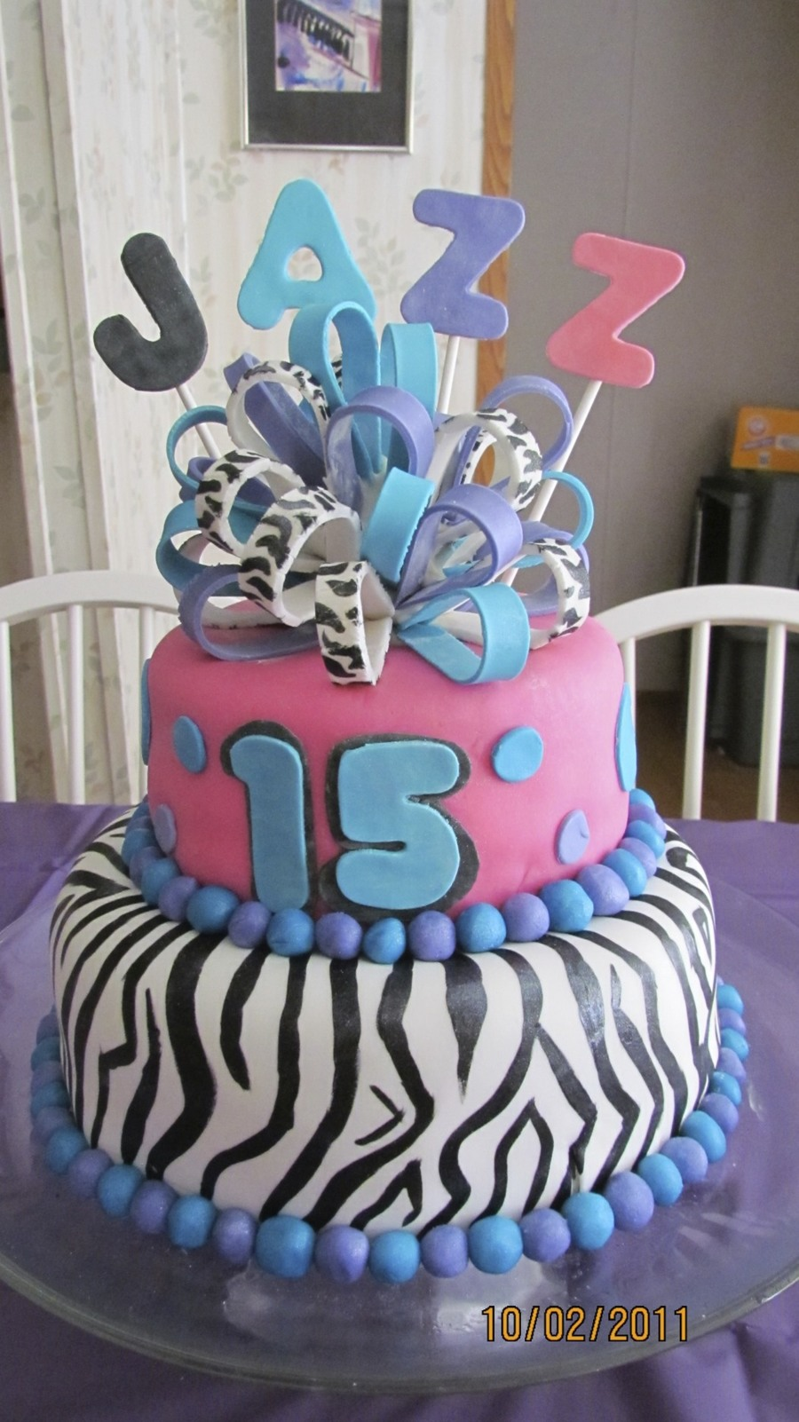 Zebra Stripes And Multi Color Birthday Cake Cakecentral