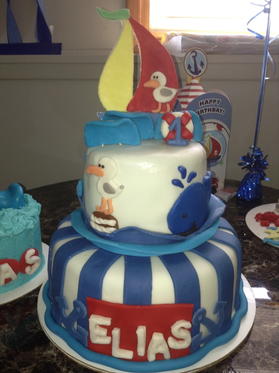 My Nephews 1St Birthday Nautical Themed Ocean Cake  on Cake Central