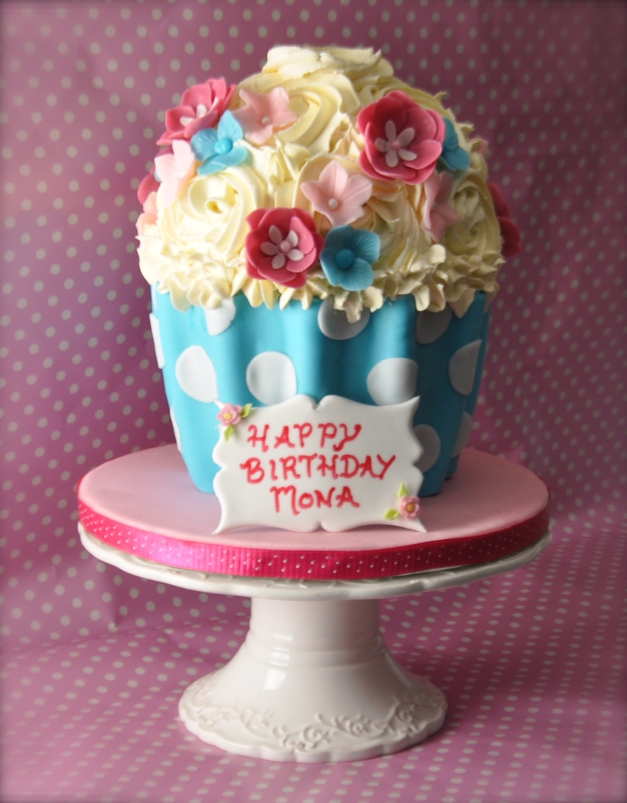 Giant Cupcake Birthday Cake on Cake Central