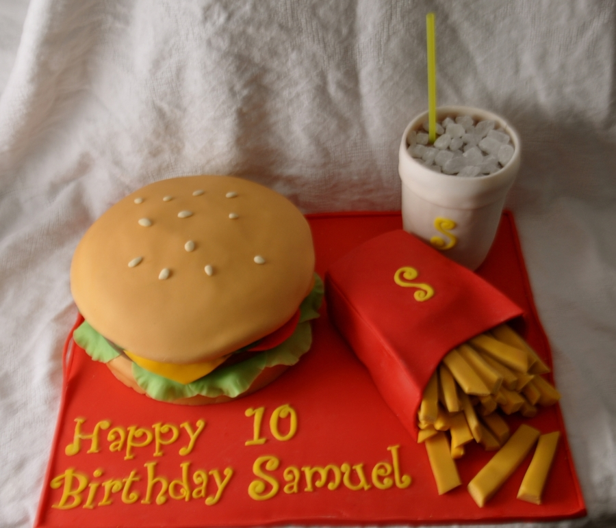 Cheeseburger Cake  on Cake Central