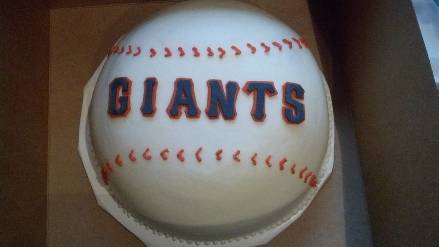 Birthday Cake For A Giants Fan Also Had Cupcakes That Went Around It With Happy Birthday On Them on Cake Central