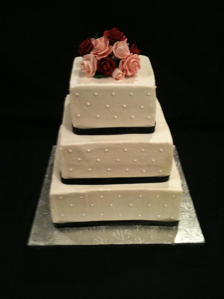 Simple Square Wedding Cake - CakeCentral.com