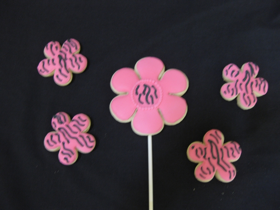 Zebra Striped Flower Cookies on Cake Central
