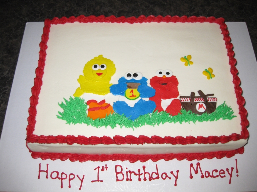 Baby Elmo, Cookie Monster And Big Bird Picnic on Cake Central