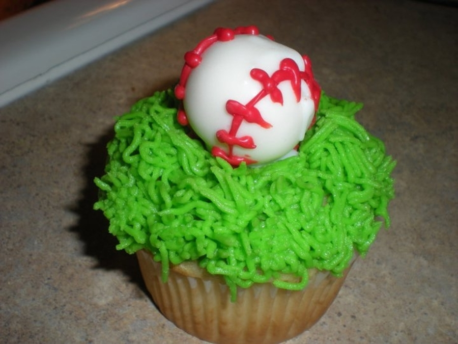 Baseball Cupcake - Vanilla Cupcake With Vanilla Buttercream. Topped With A Vanilla Cake Ball!  on Cake Central