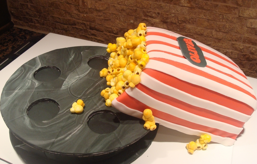 Movie Reel And Popcorn on Cake Central