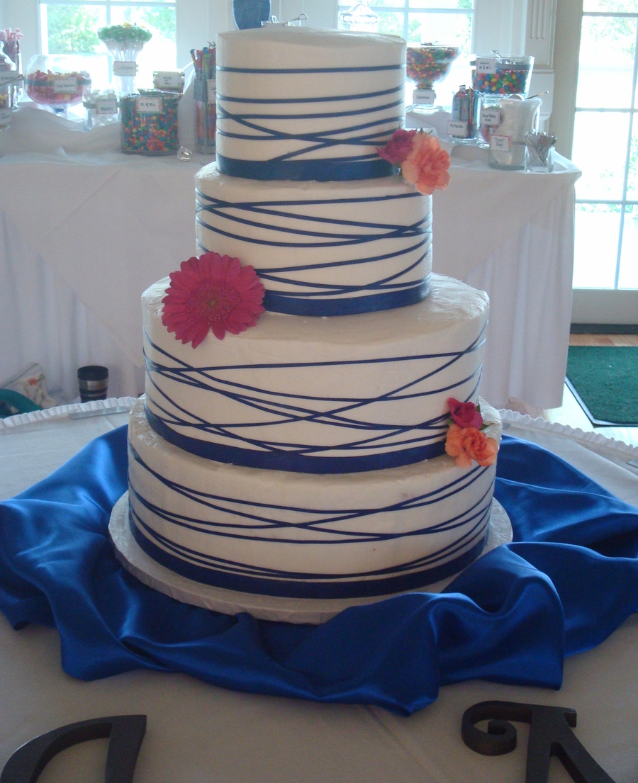 Ribbon Wrapped Wedding Cake on Cake Central