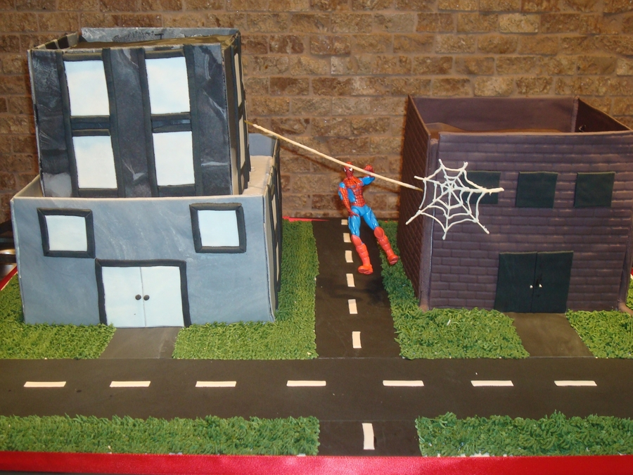 Spiderman Building Cake  on Cake Central