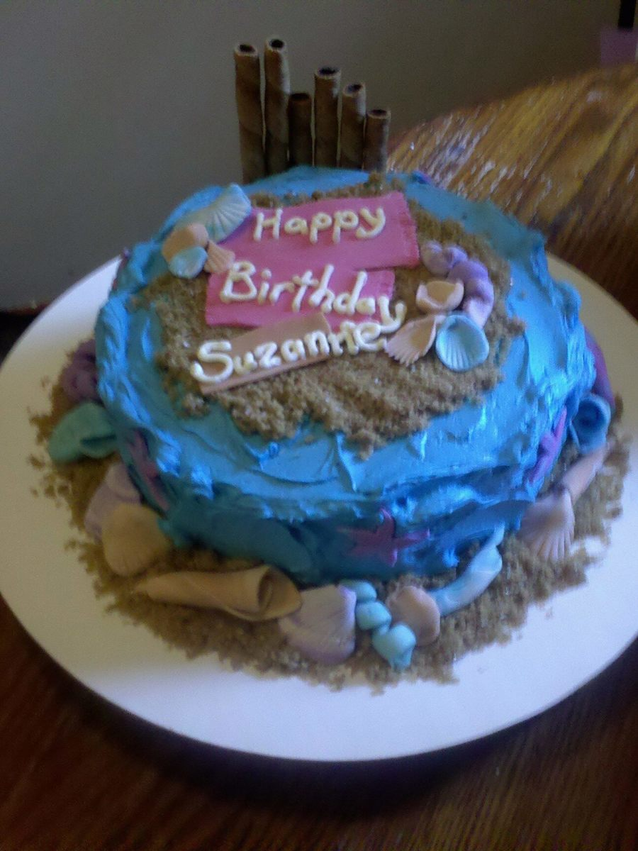 Beach Side Birthday Cake on Cake Central
