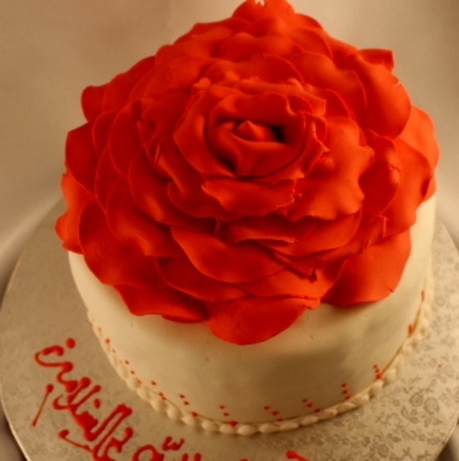 8 Inch Choco Cake With Choco Filling Gumpaste Large Rose on Cake Central