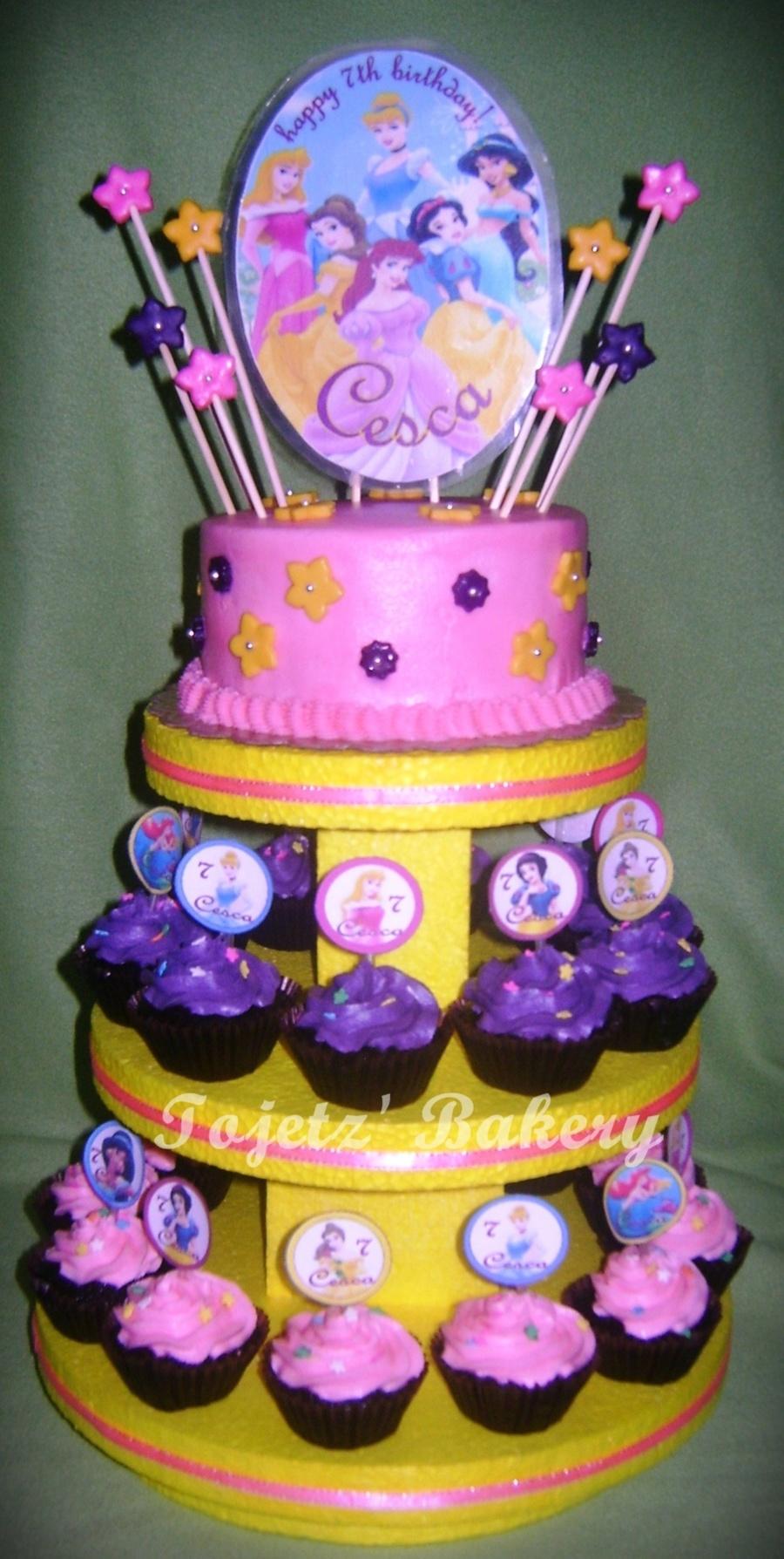 cescas disney princess cupcake tower cakecentralcom