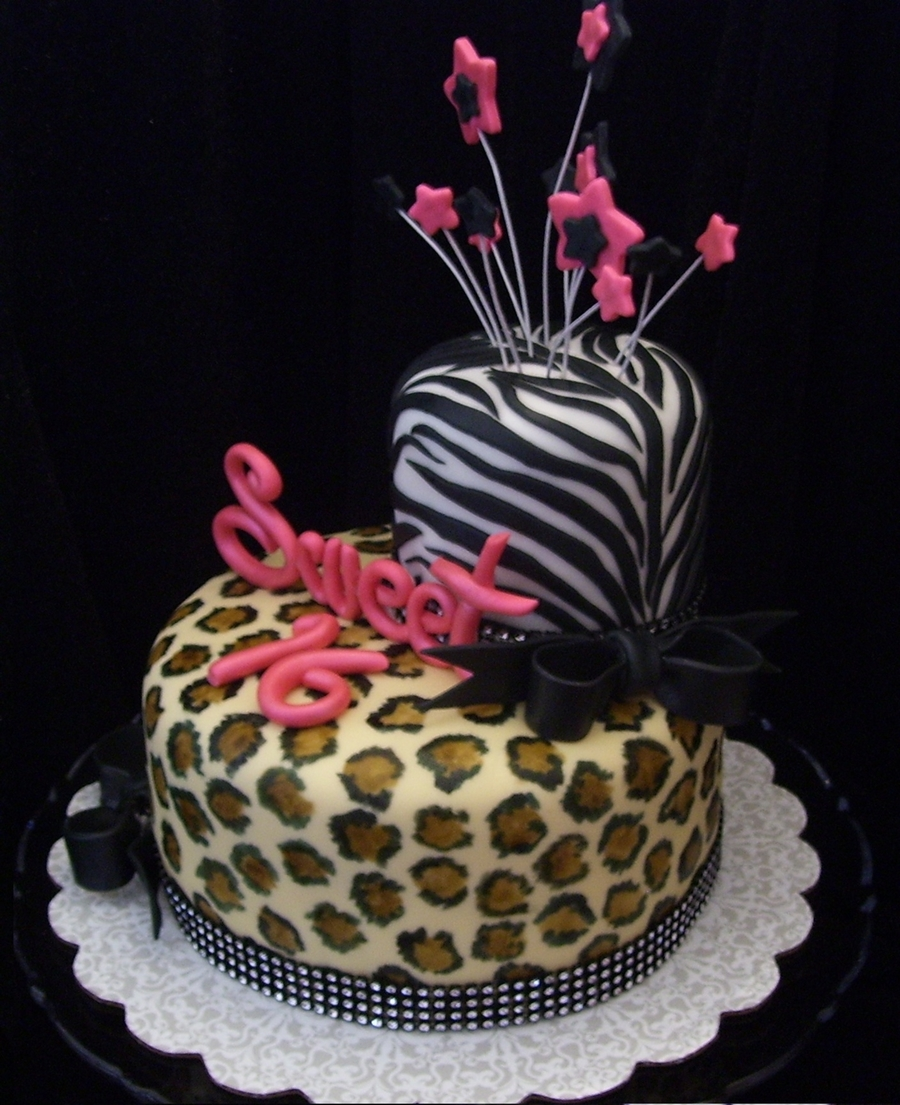 Zebra And Cheetah Birthday Cakes