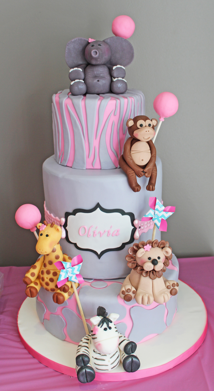 Girly Safari First Birthday Cake CakeCentralcom