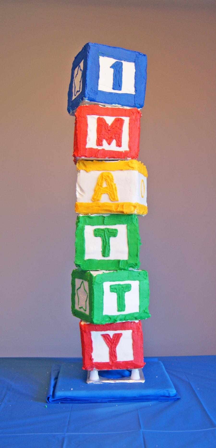 My sons first birthday cake for Alphabet blocks cake decoration