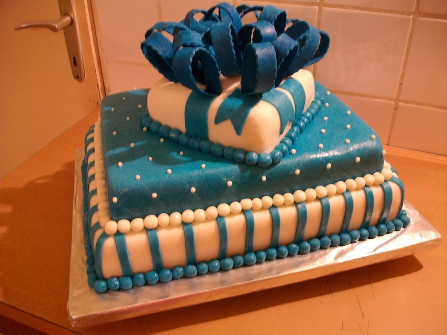 White And Blue With A Bow on Cake Central