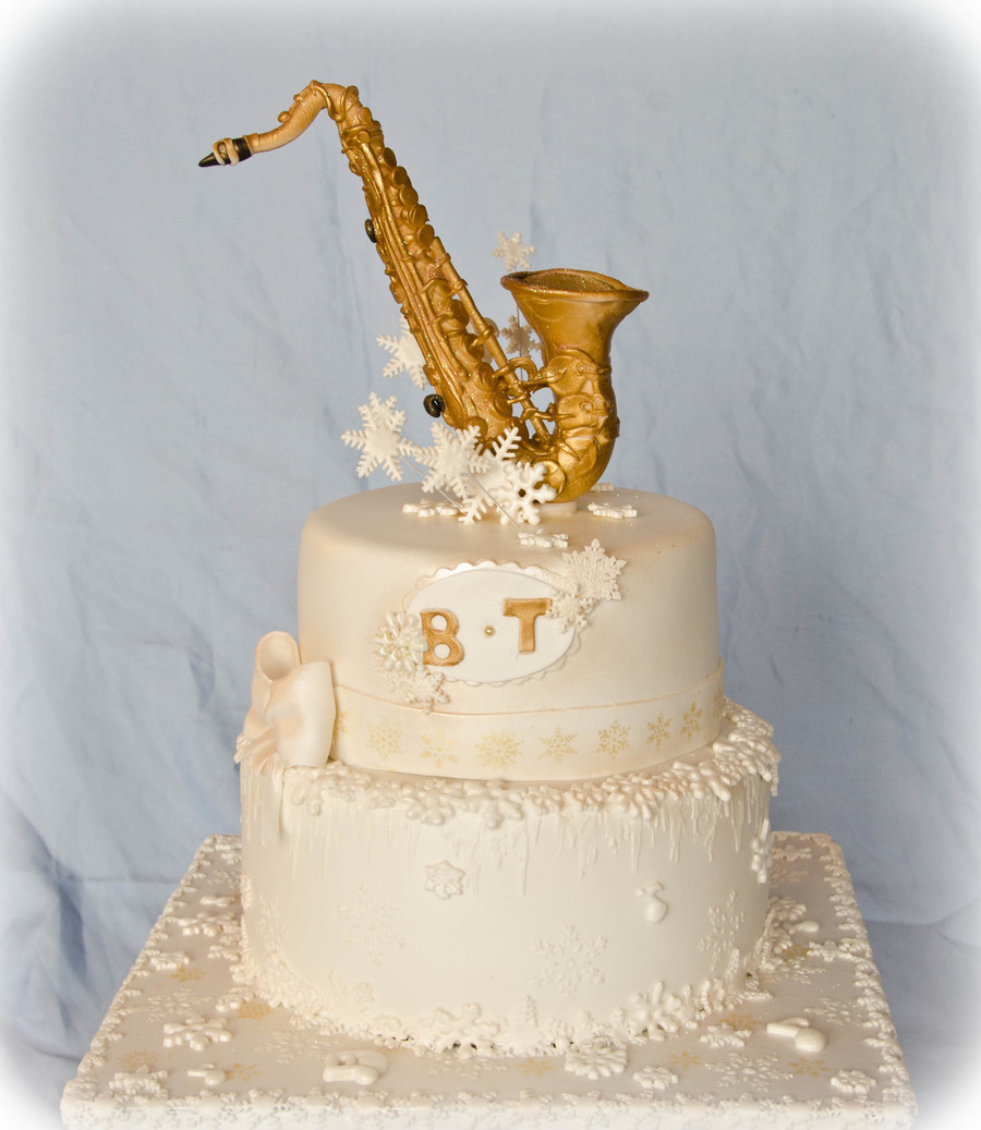 Saxophone And Snowflakes Wedding Cake Cakecentral Com
