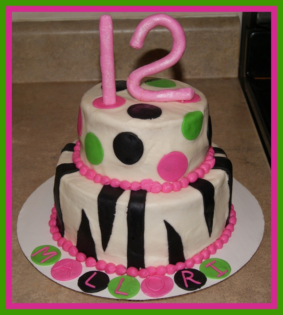 Zebra Stripe Birthday Cake on Cake Central