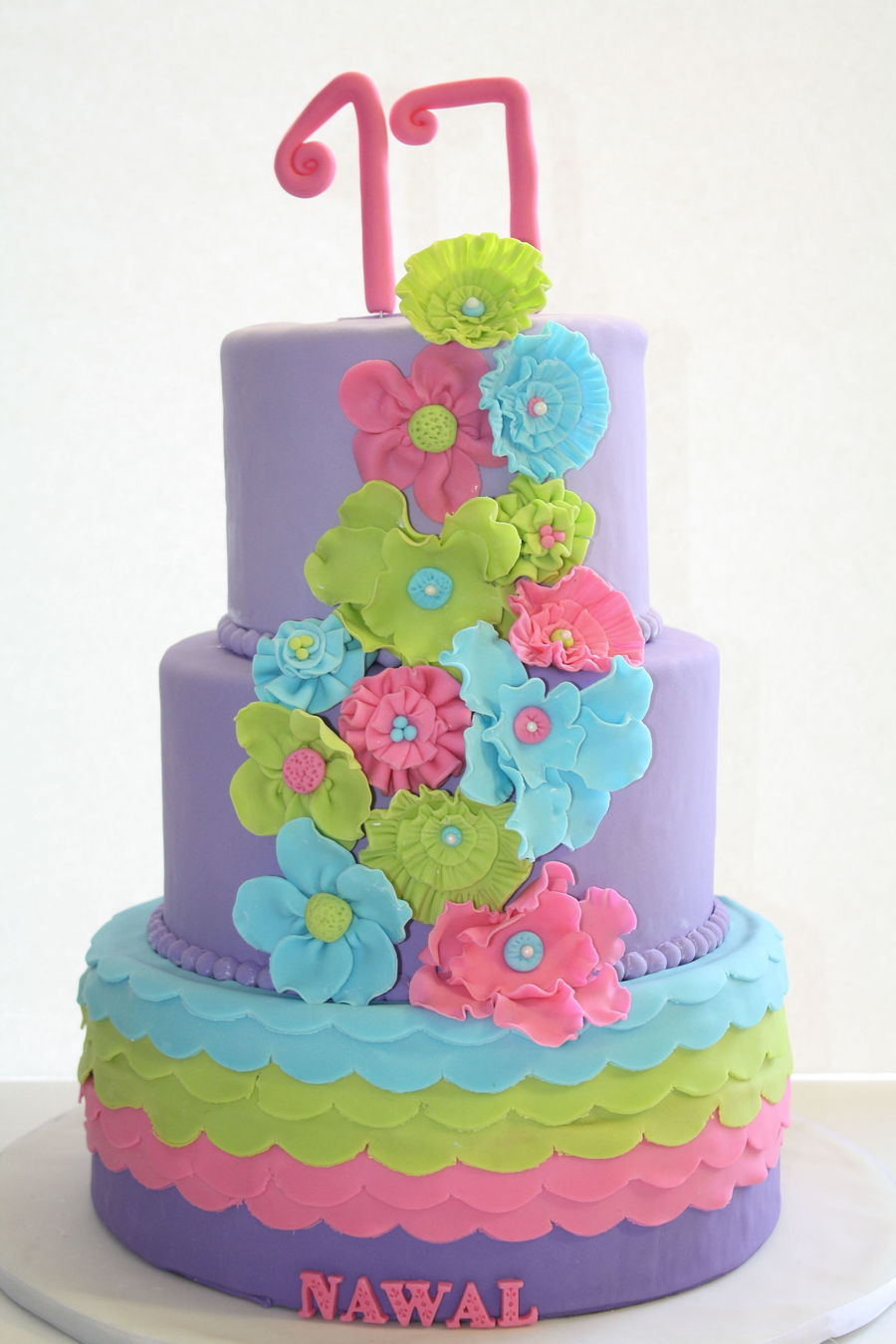 Excellent Colorful 17Th Birthday Cake Cakecentral Com Personalised Birthday Cards Veneteletsinfo