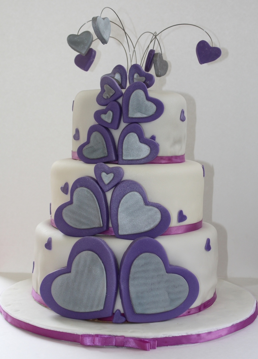 Silver And Purple Hearts on Cake Central