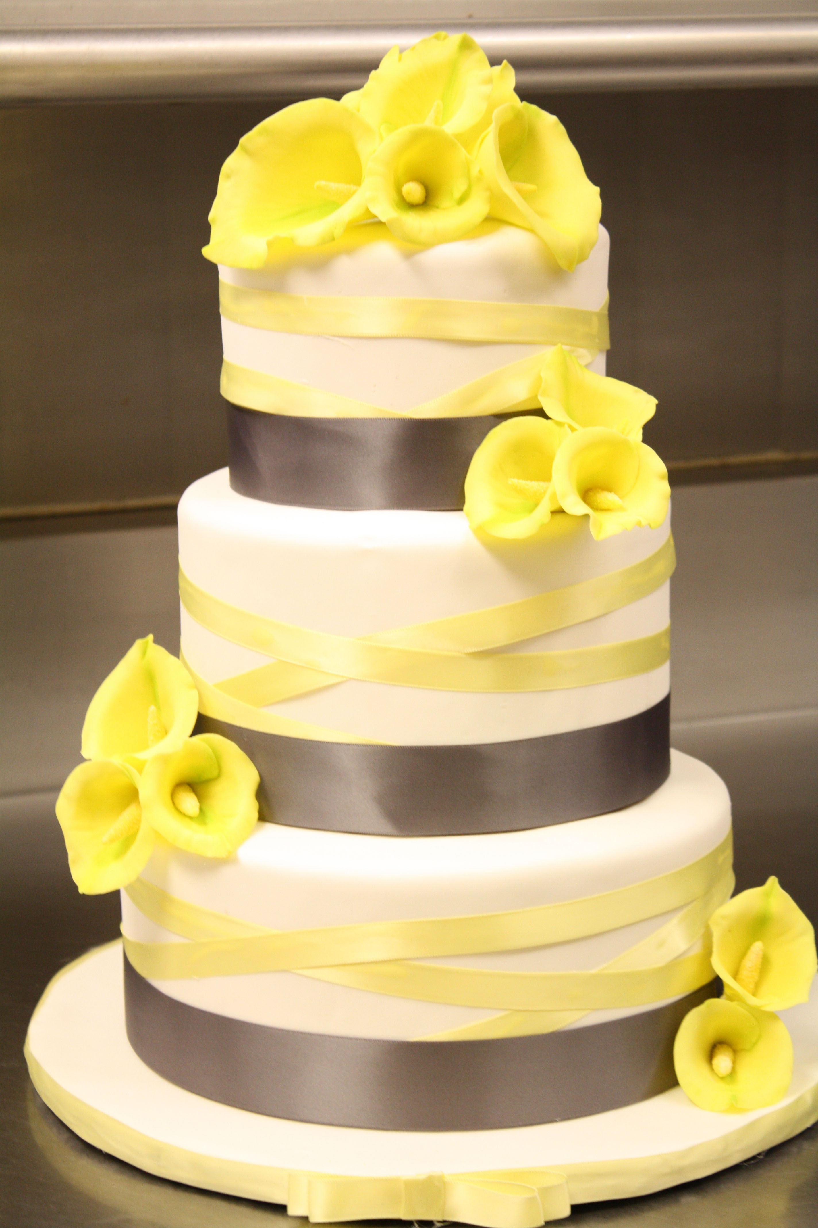 Calla Lily Wedding Cake In Grey And Yellow CakeCentral