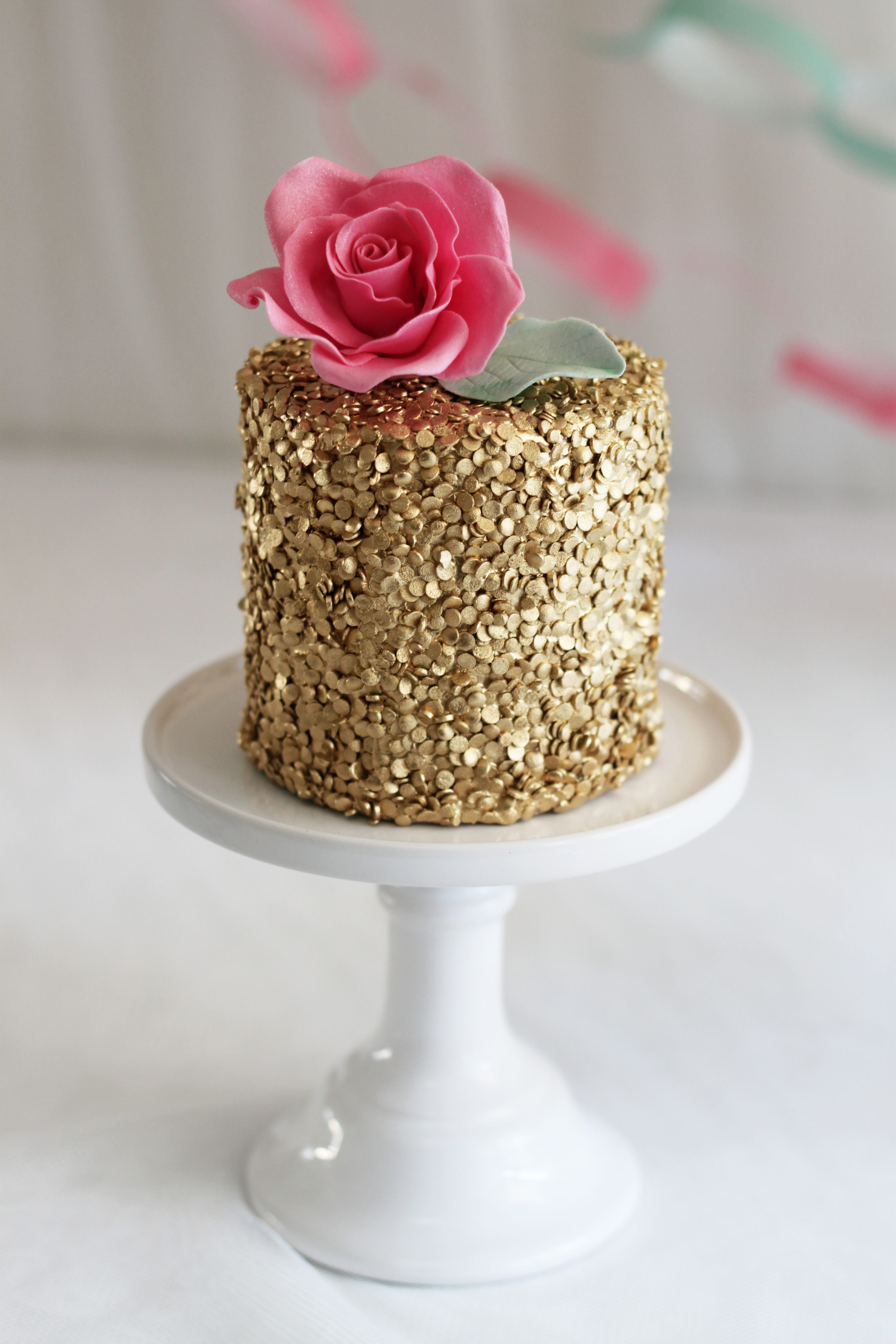 Cake With Edible Pictures : Edible Gold Sequins Cake - CakeCentral.com