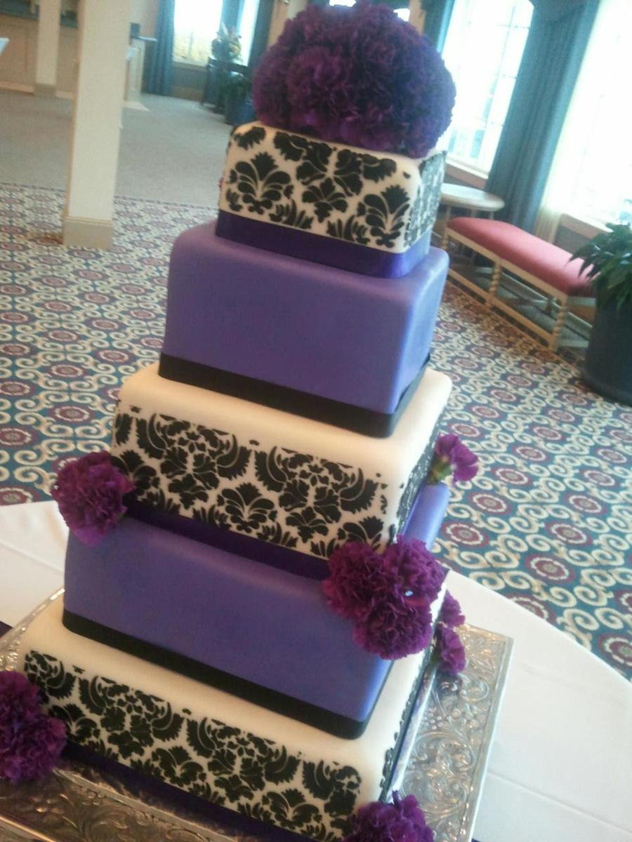 Purple And Black Damask on Cake Central