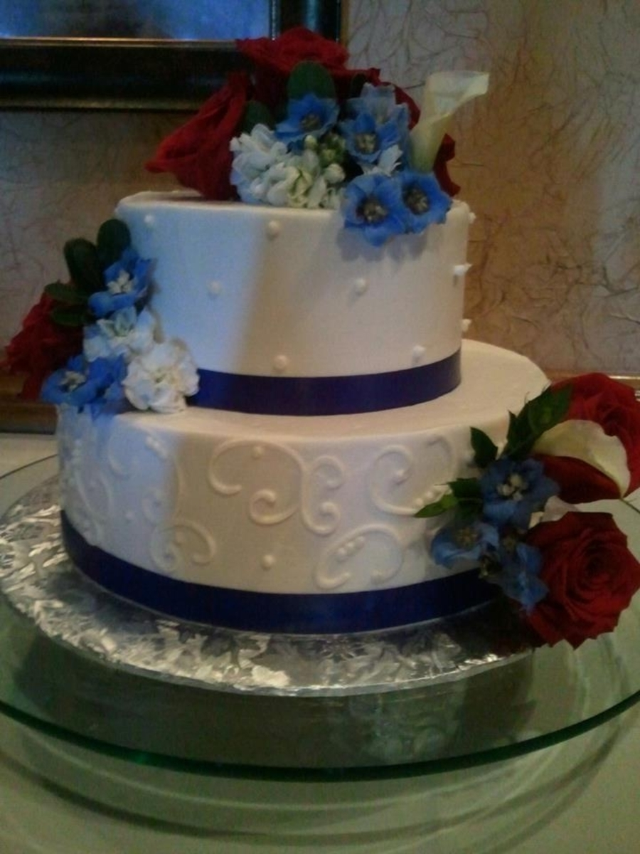 Red White And Blue Anniverasry Cake on Cake Central