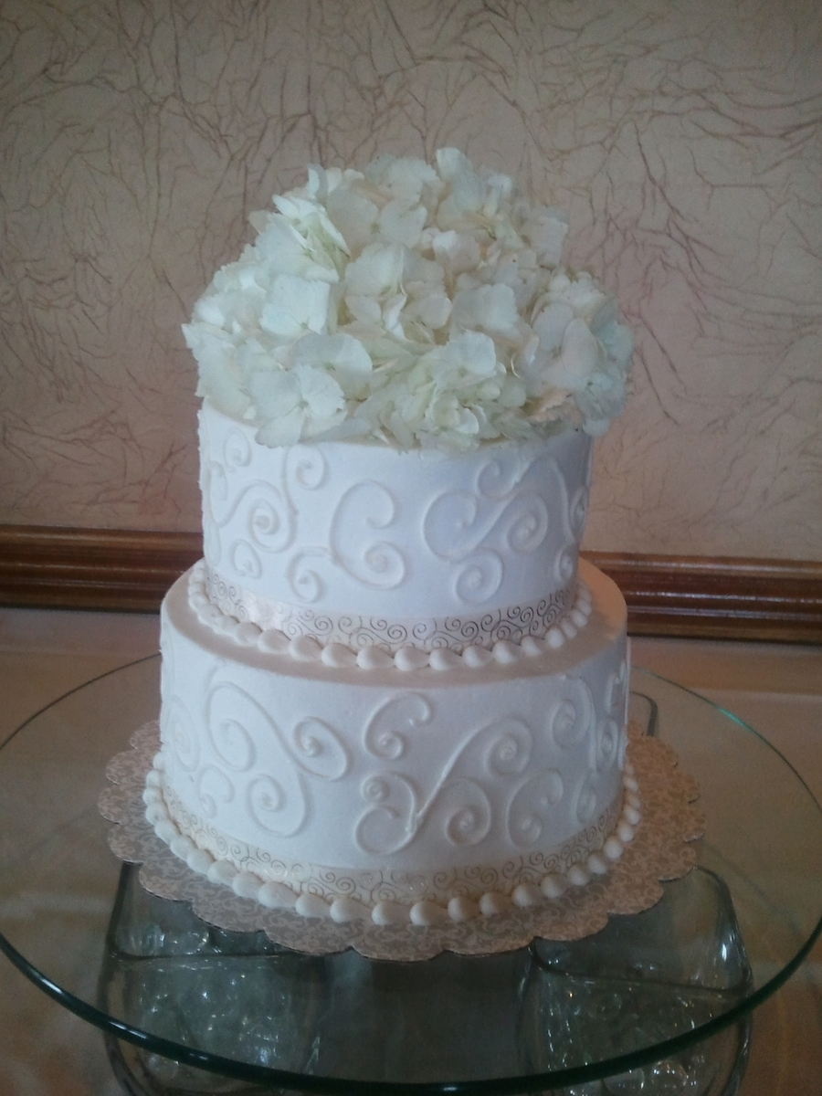 Pretty White Scrolls on Cake Central