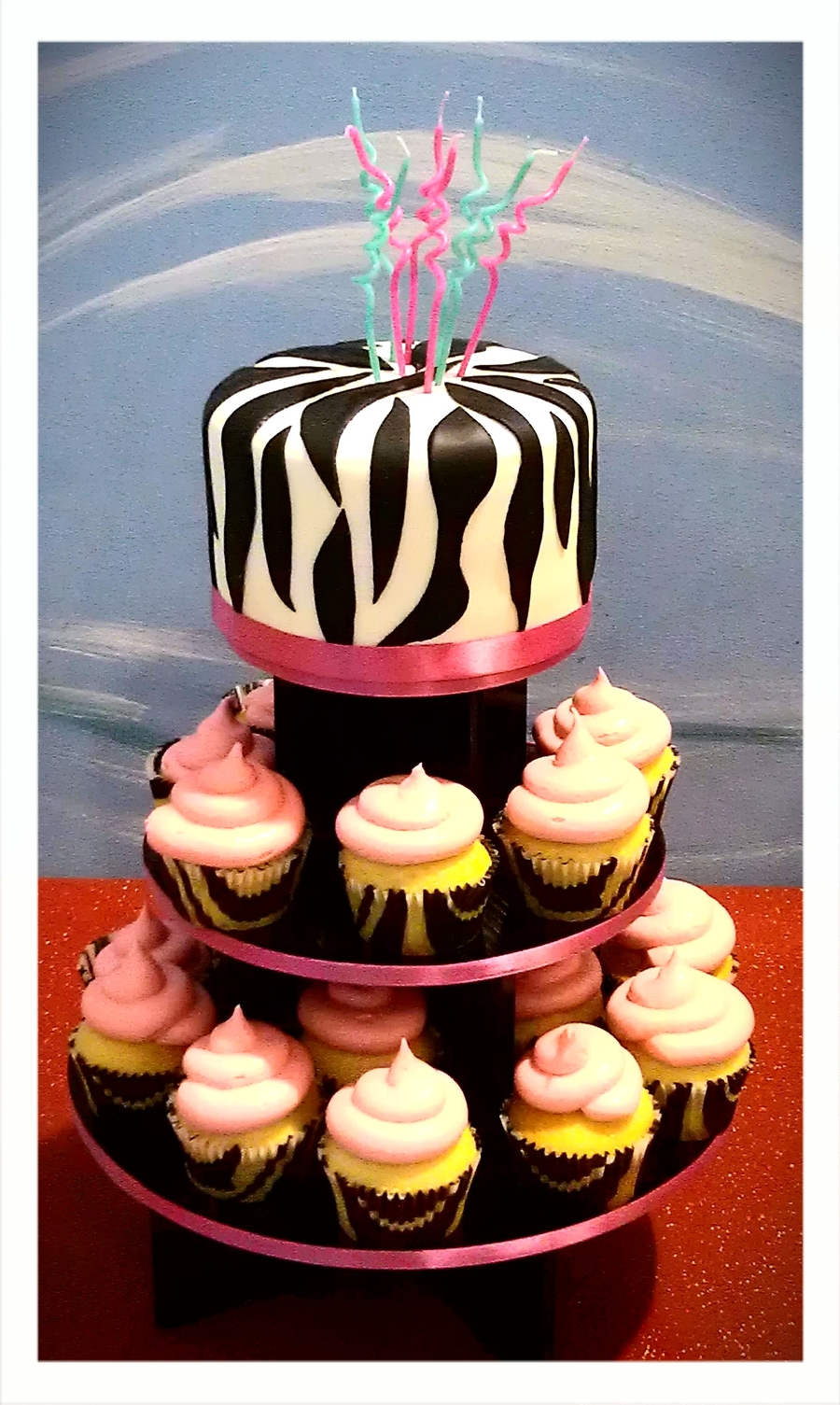 Pink And Zebra Stripes on Cake Central