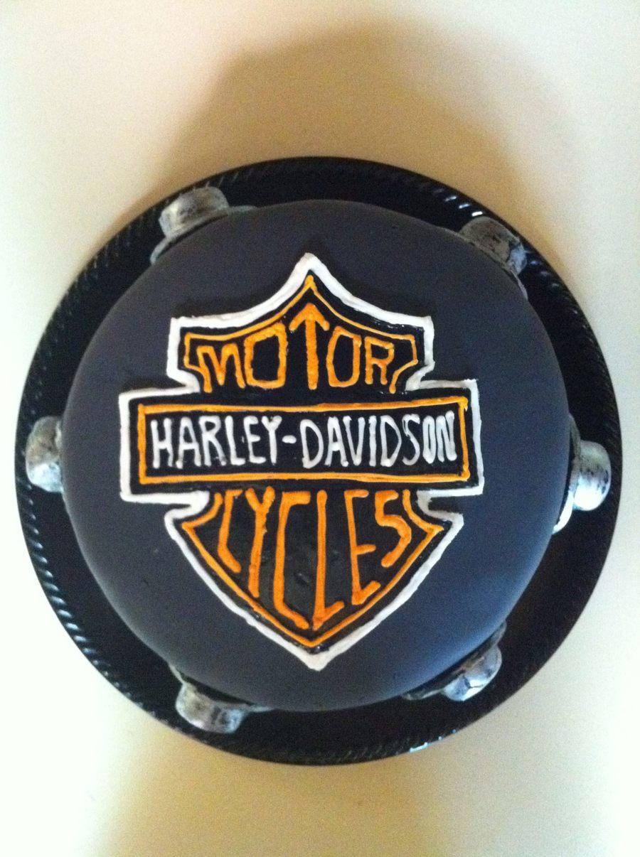 Harley Davidson Cake Free-Hand Royal Icing Logo on Cake Central