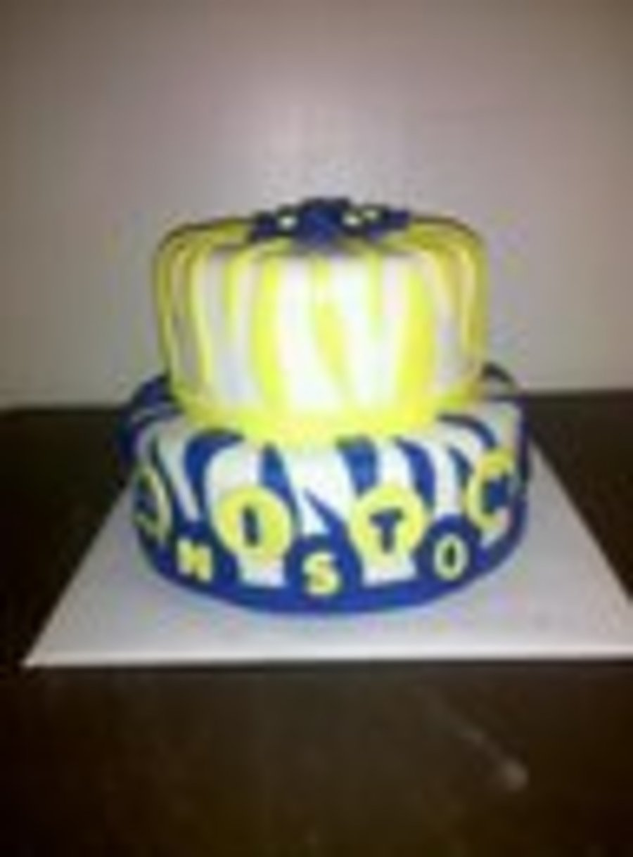 Royal Blue And Yellow Zebra on Cake Central
