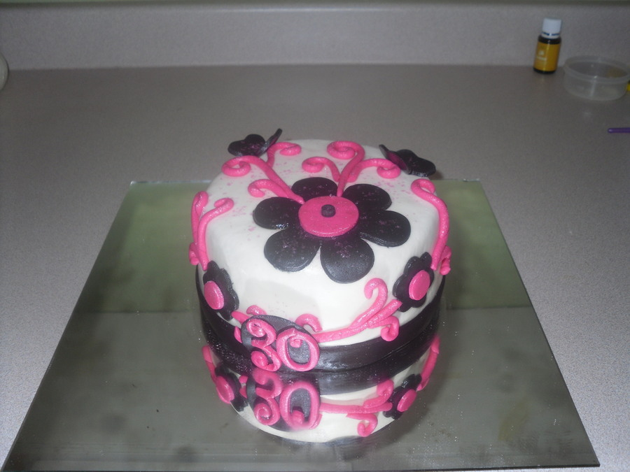 Pink And Black Scroll And Flowers on Cake Central
