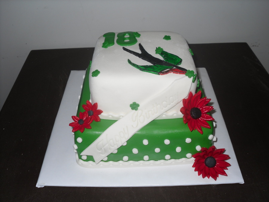 Green And White Polka Dots W/sparrow on Cake Central