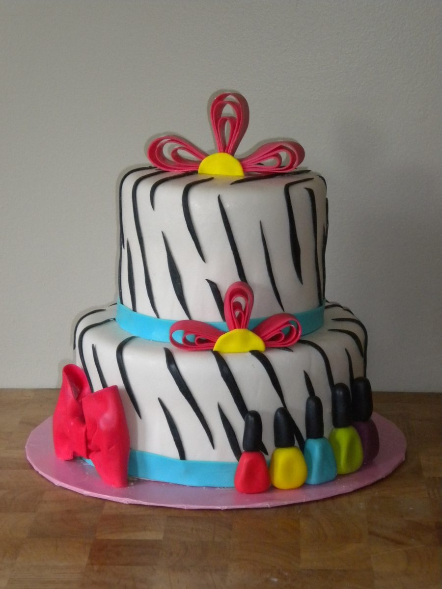 Zebra And Nail Polish Cake Cakecentral