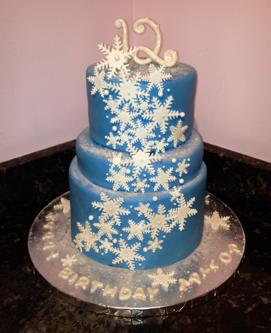 Peachy Winter Wonderland Birthday Cake Cakecentral Com Funny Birthday Cards Online Fluifree Goldxyz