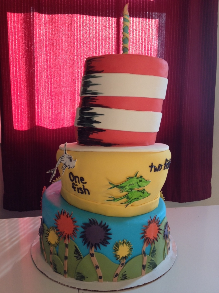 Awe Inspiring Dr Seuss First Birthday Cake Cakecentral Com Funny Birthday Cards Online Aeocydamsfinfo
