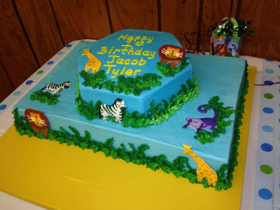 Baby Animal Zoo Cake For Boys First Birthday - CakeCentral.com