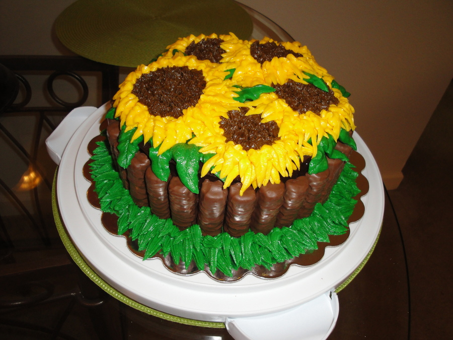 Chocolate Cake With Chocolate Ganache And Sunflowers