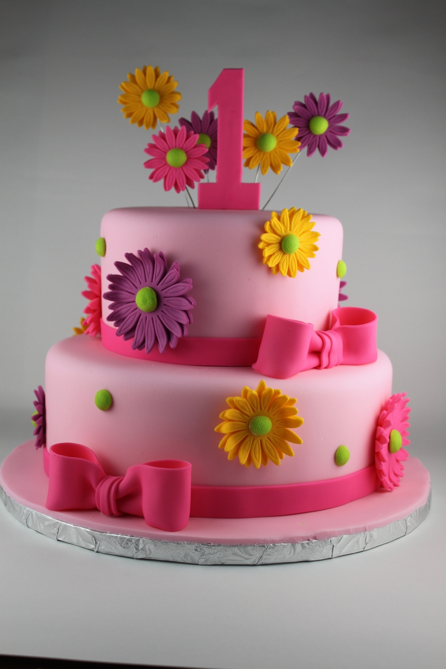 Girly First Birthday Cake CakeCentralcom