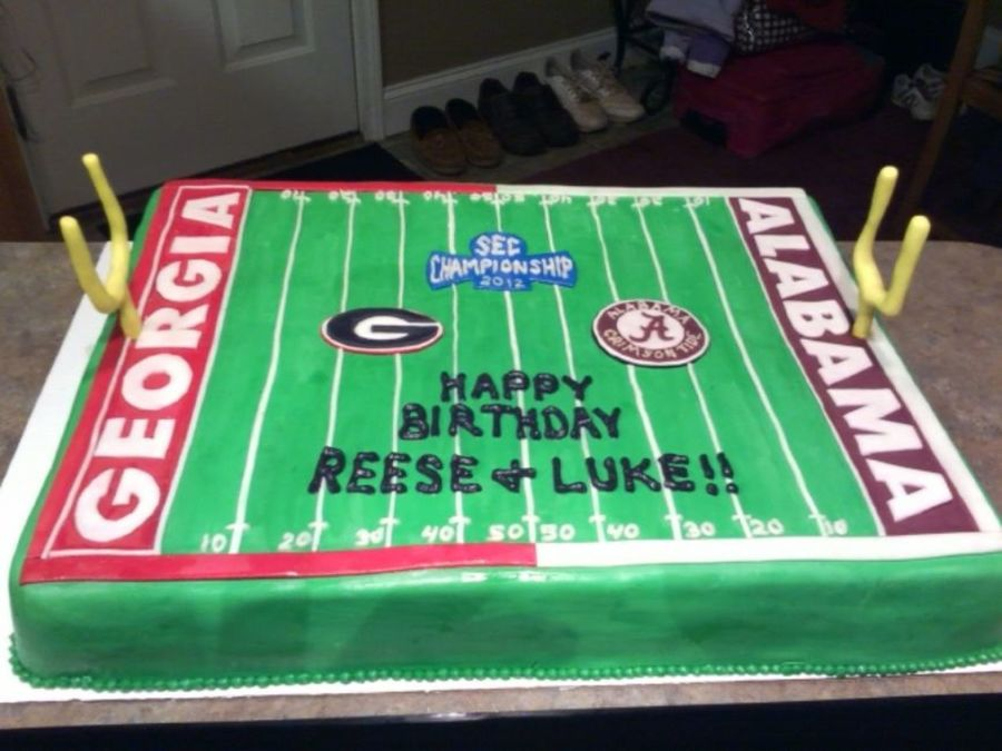 Ga Al Football Field Cake  on Cake Central