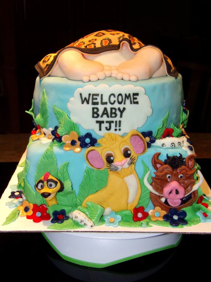 Simba   Lion King Baby Shower Cake With Babyu0027s Butt Covered With Blanket On  Cake Central