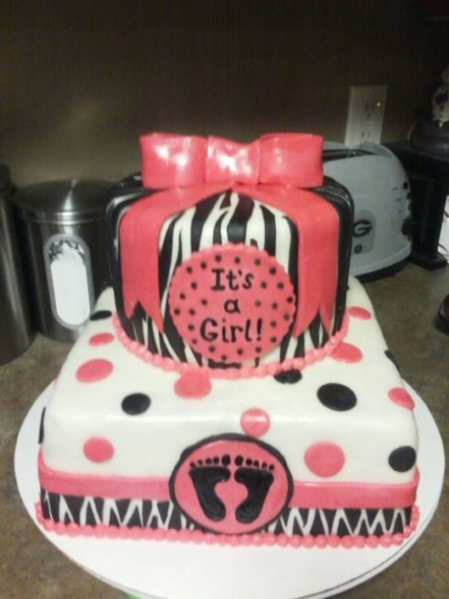 Its A Girl Hot Pink Polka Dots Amp Zebra Stripes on Cake Central