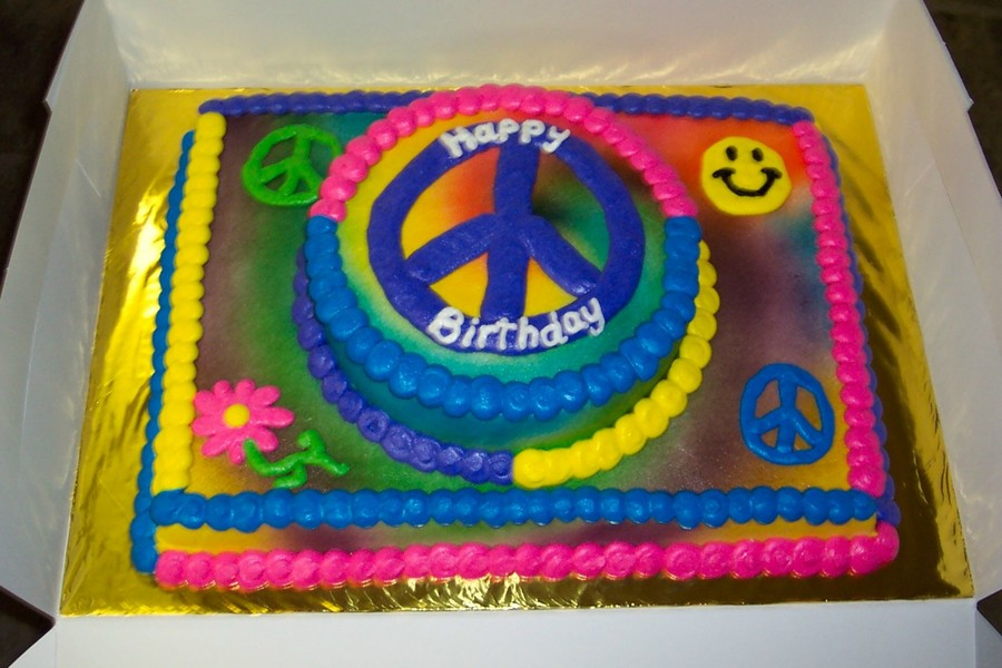 Tie Dye Peace Sign Cake - CakeCentral.com
