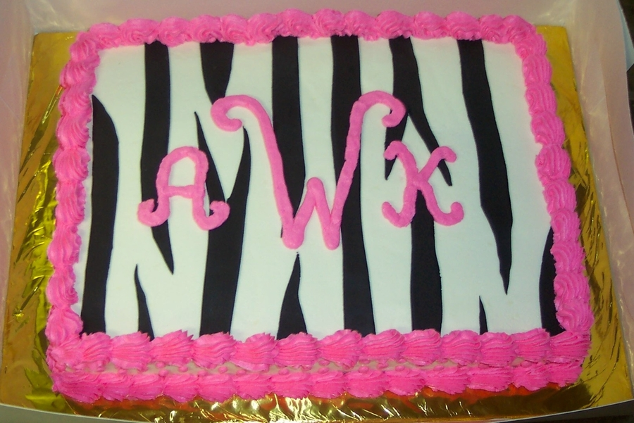 Hot Pink Zebra Monogram Cake on Cake Central