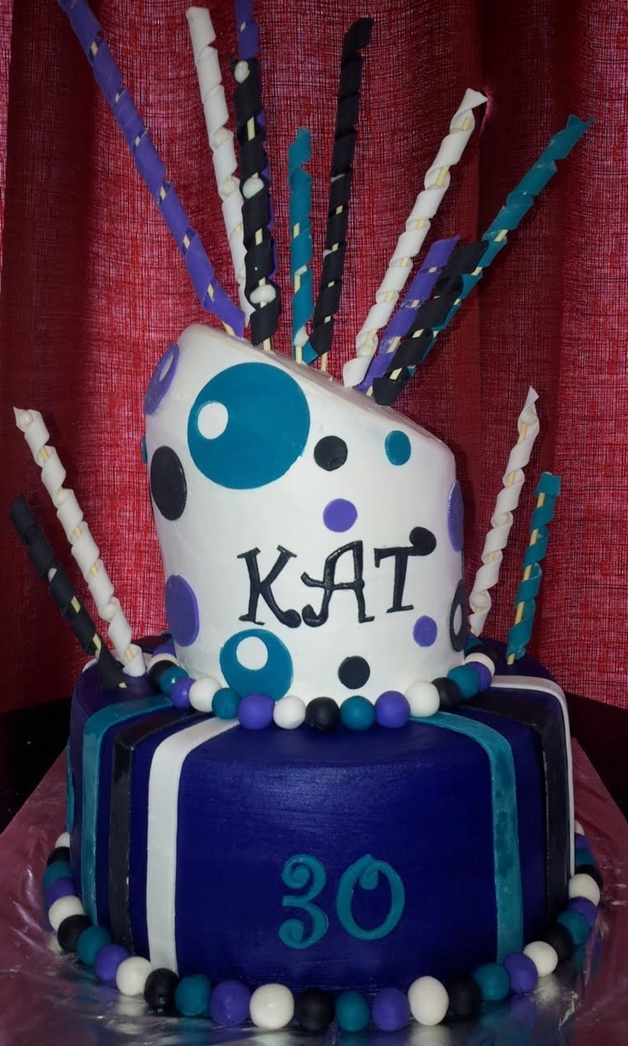 Purple Teal And Black Polka Dot Striped Themed 30th