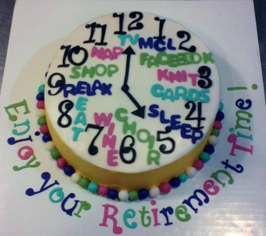 Clock-Themed Retirement Cake - CakeCentral.com