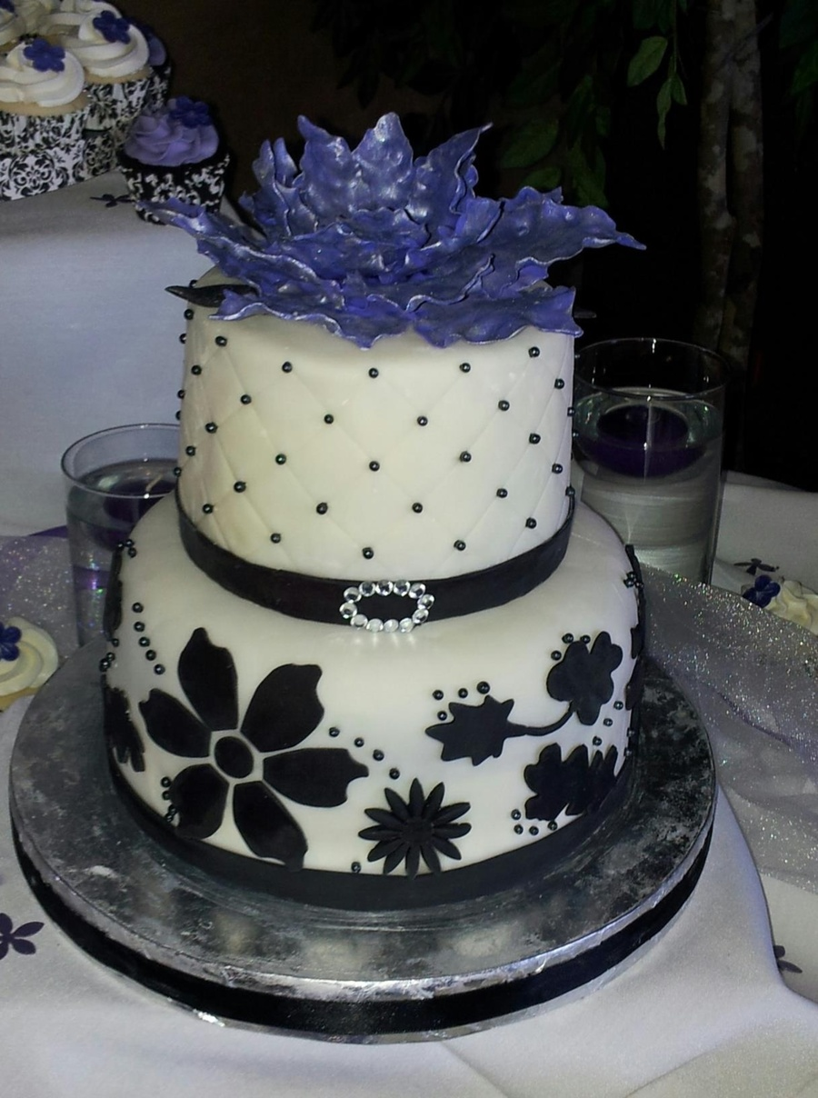 Wedding Cake And Cupcakes Purple Black And White Colors Gum Paste