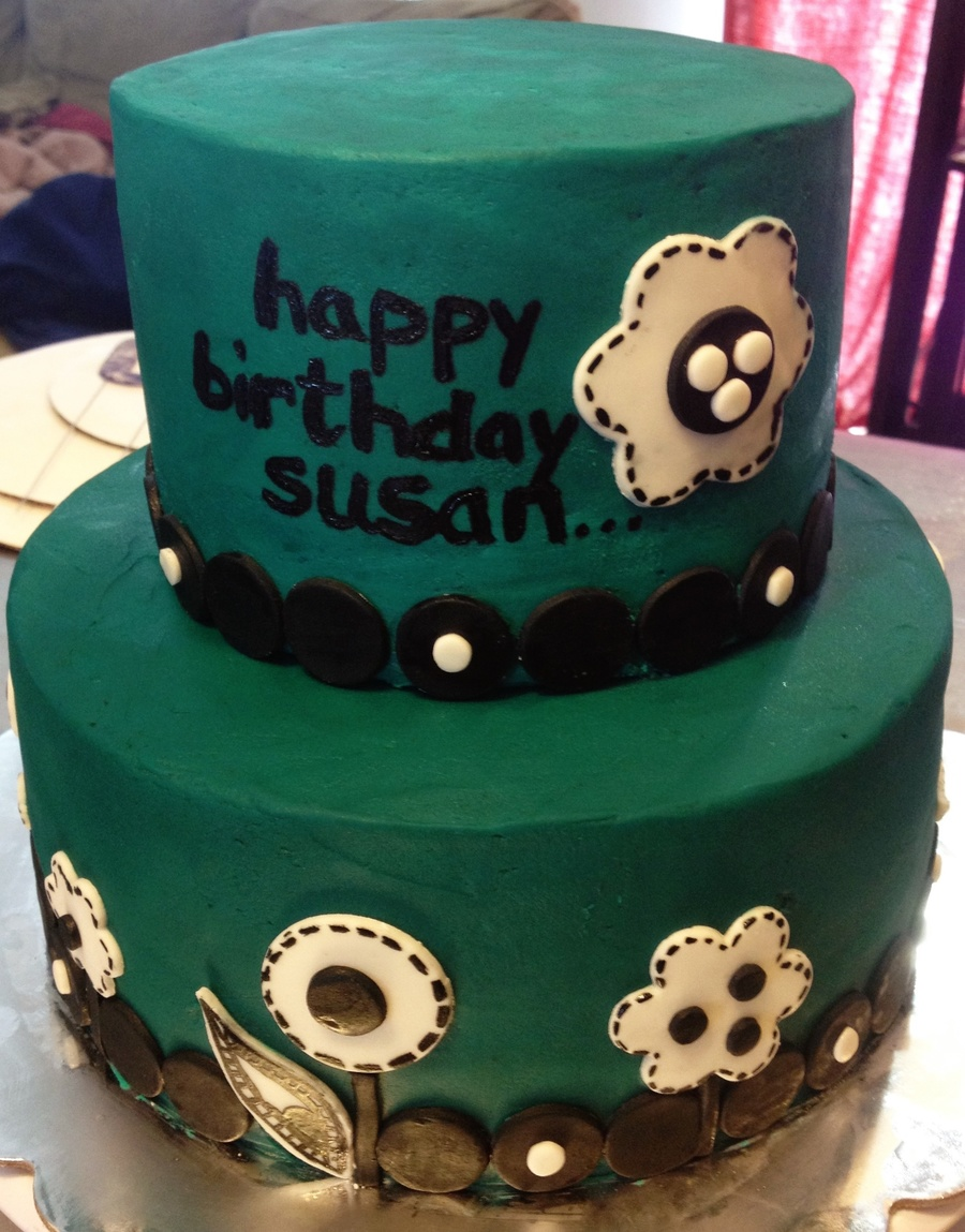 Awe Inspiring Aqua And Black Modern Birthday Cake Cakecentral Com Funny Birthday Cards Online Inifodamsfinfo